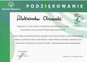 PODZIĘKOWANIA OD SPECIAL OLYMPICS